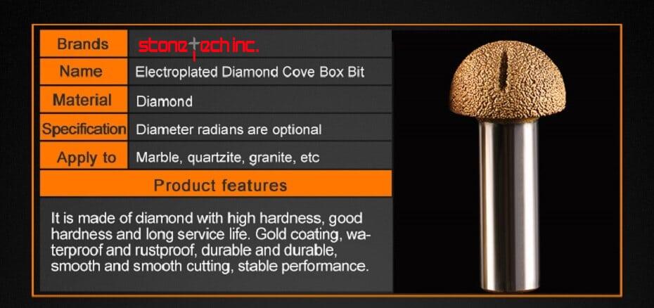 Diamond burrs cove box router bit for cutting granite, marble & stones