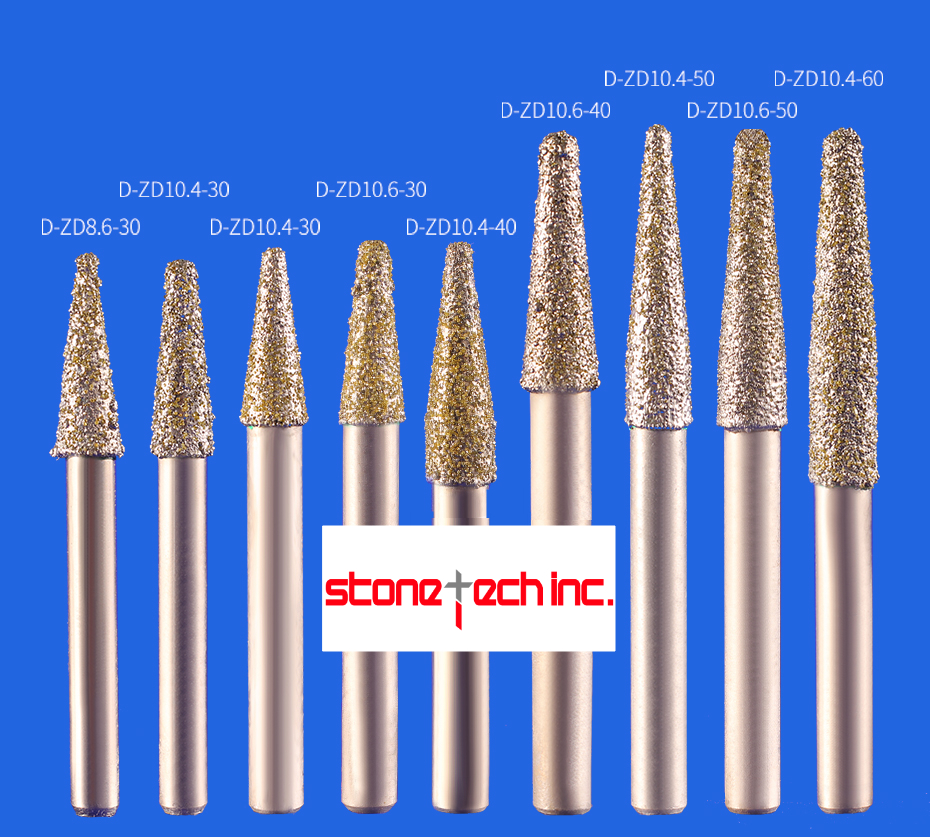 Vacuum brazed stone cutter bits taper CNC engraving tools milling cutter marble router bits - 12mm - 1pcs