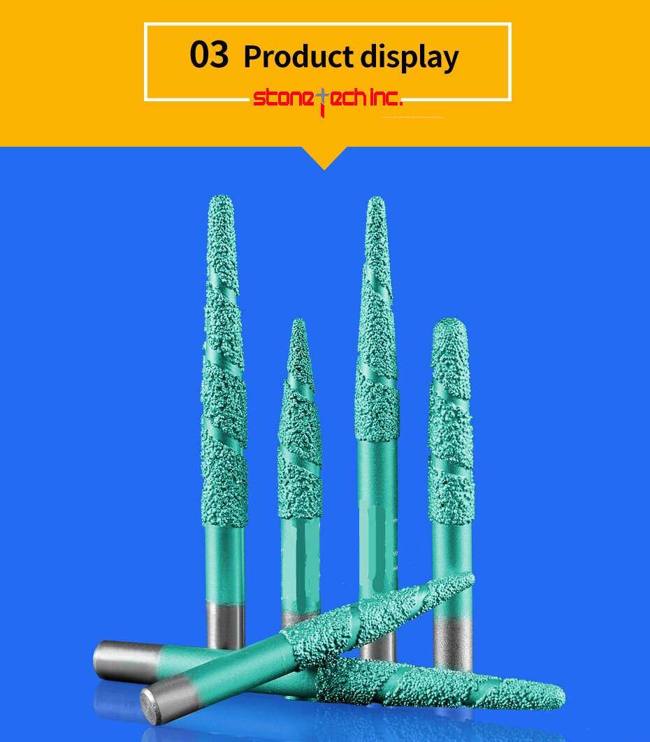 Vacuum brazed stone bits granite cutting tools taper diamond burrs router bits for engraving marble