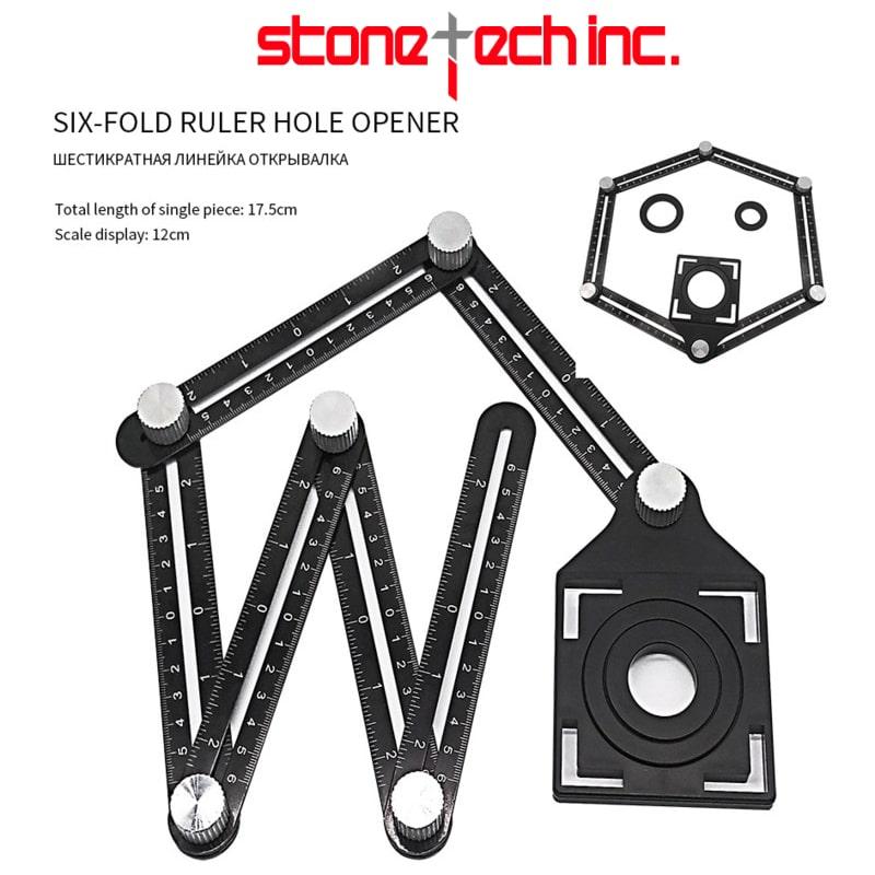 Adjustable Woodworking Six Folding Ruler Ceramic Tile Saw Hole Locator Aluminum Alloy Hole Punch Hand Tool