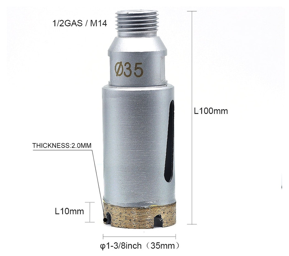 Arbor M14 female/ 1/2 gas male Diameter 1-3/8 inch 35mm diamond wet core drill bit for wet milling and drilling stone