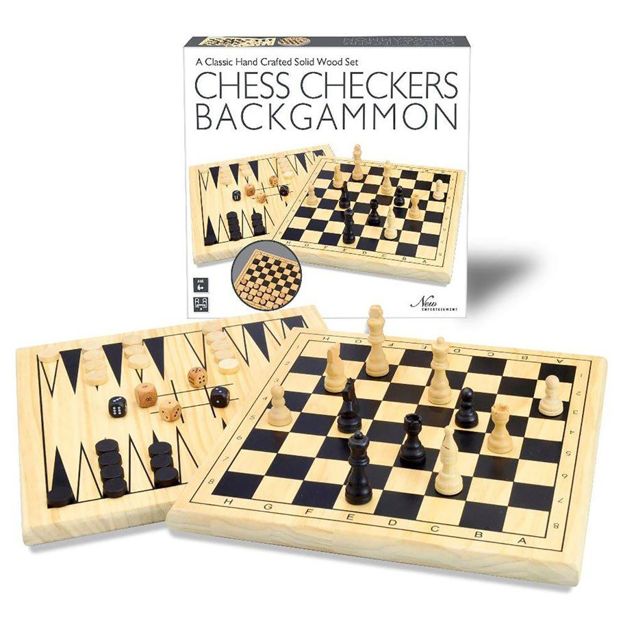 wood 3 in one chess checkers backgammon temp