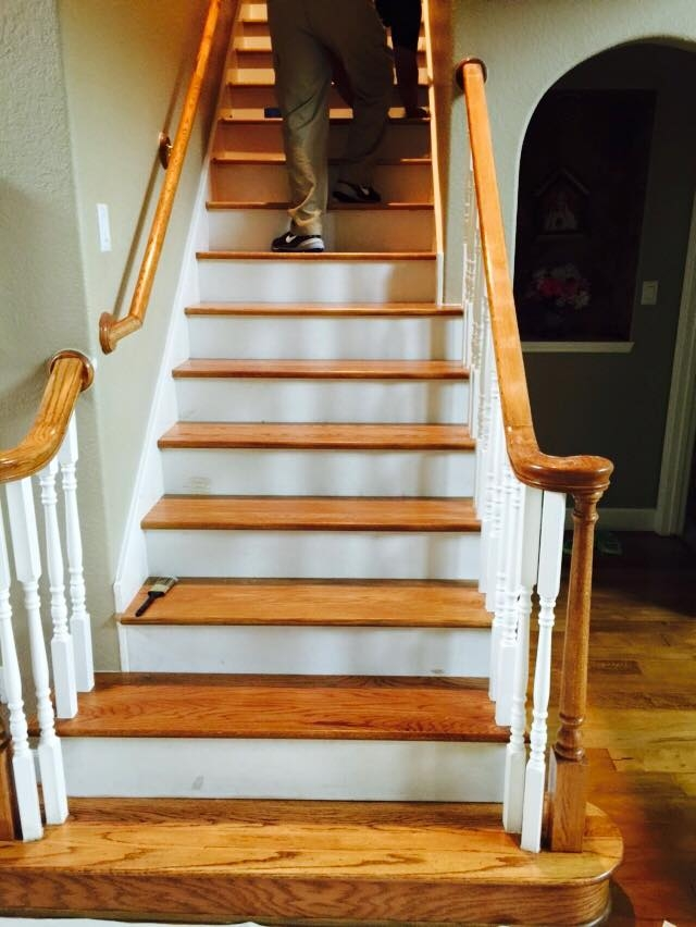 Hardwood Polishing And Refinishing Houston Stonewood   Staircase Refinishing Near Me   Basement   Restaining   Brown Stained   White Riser   Grey Flooring
