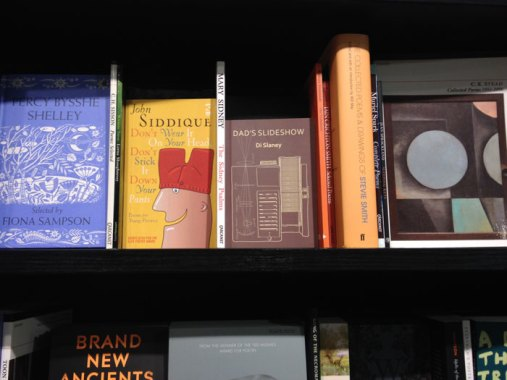 Waterstones bookshelf, Dad's slideshow – in good company