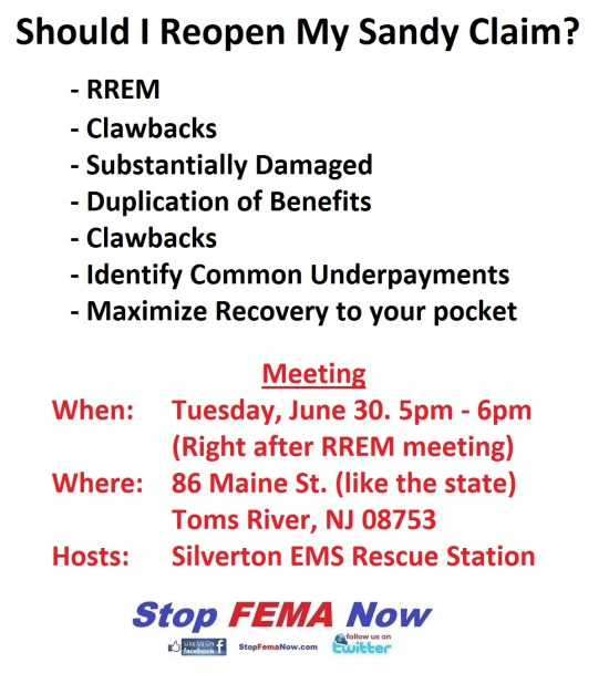 Should I re-open my Sandy Claim - Toms River