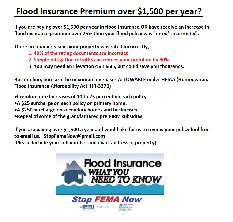 Paying Over 1500 A Year For Flood Insurance Stop Fema Now