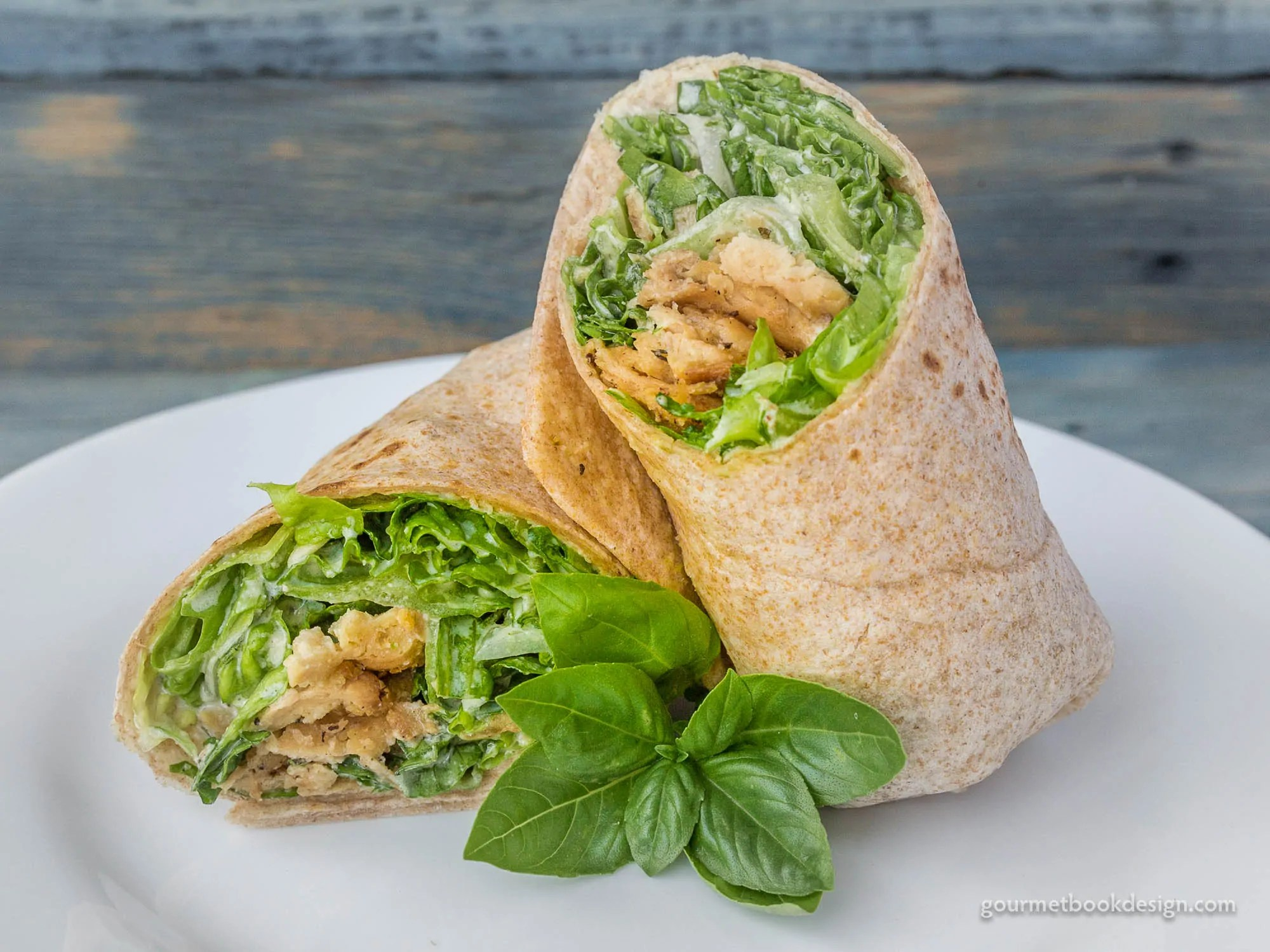 Ceasar wrap w/soy curls, Romaine, cucumber, & house-made Ceasar dressing