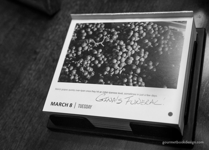 Coming home for family: The calendar item with Gina's funeral marked