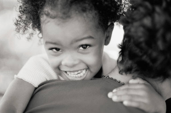 MS black girl smilingb&w