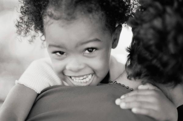 MS black girl smilingb&w