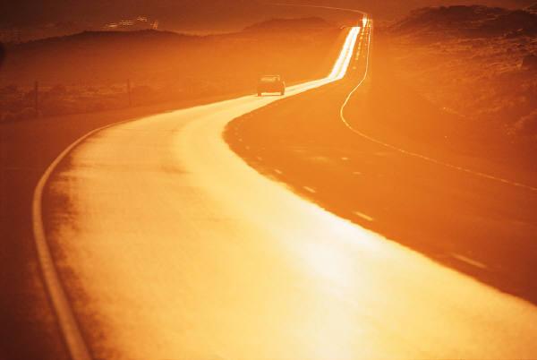 MS wet road sunset