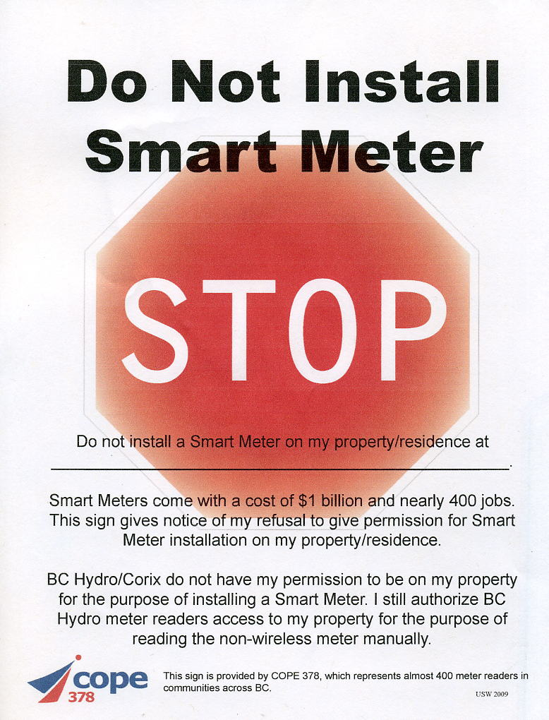 Smart Meter Opt Out Letter.Signs Coalition To Stop Smart Meters In Bc