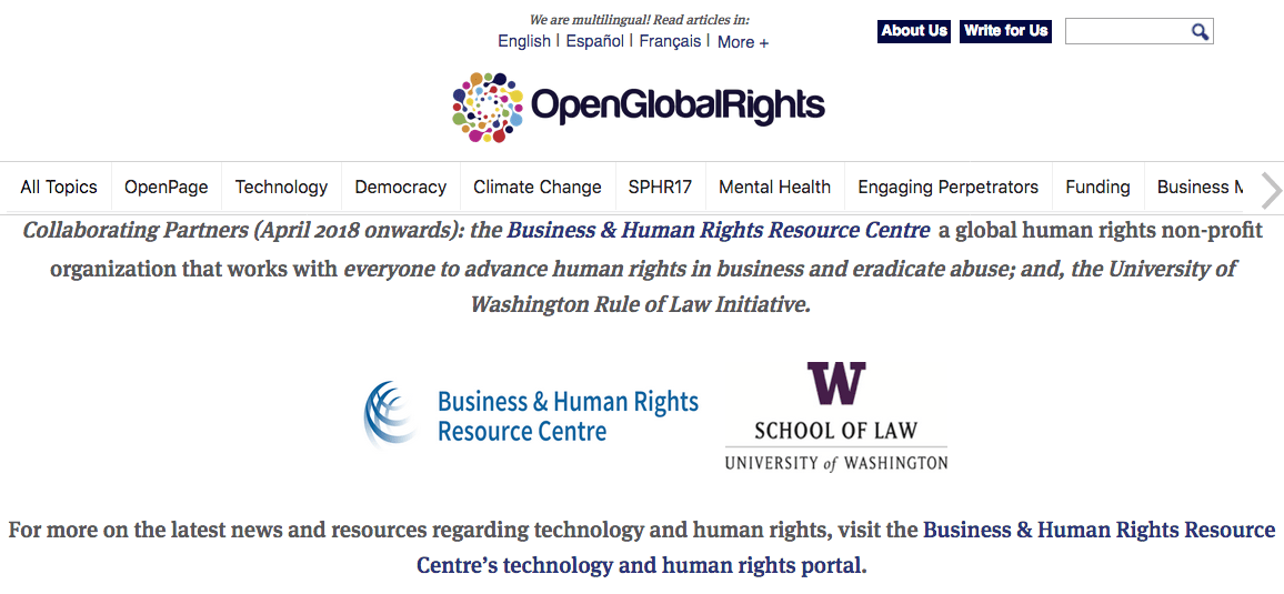 """2018-05-17 Law school blog — """"Technology and Human Rights"""