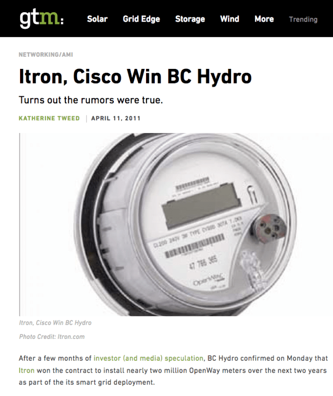 BC Hydro – Cisco – Itron | Coalition to Stop Smart Meters in BC