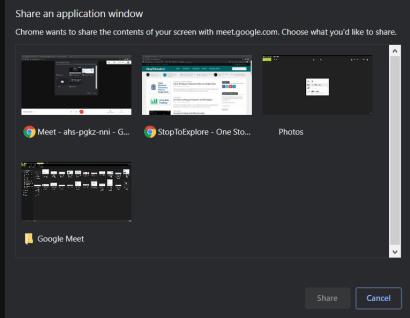 Share Application Window - Google Meet