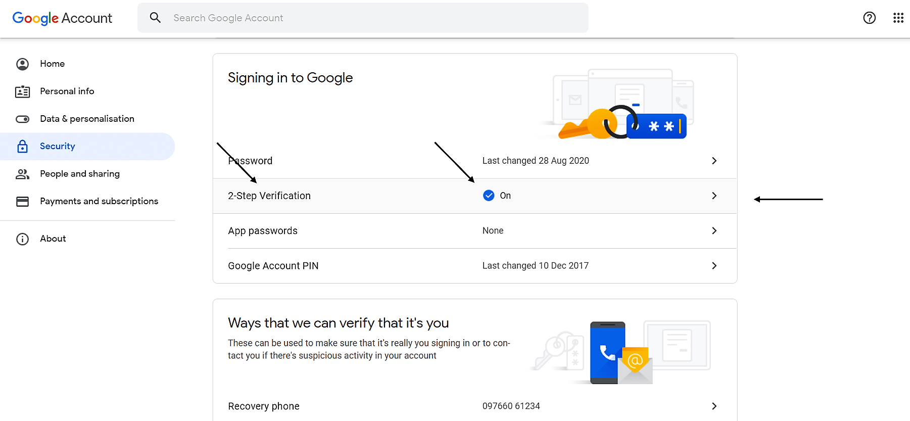 Google account Security – Turn on 2-Step Verification