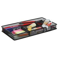 Black Metal Wire 4 Compartment Office Desk Drawer Organizer Tray / Open Storage Bin Basket Rack - MyGift®