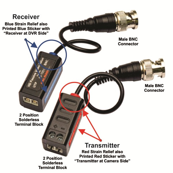 """passive hd single channel video balun cvi tvi analog video with 3""""  pigtail sold in pairs"""