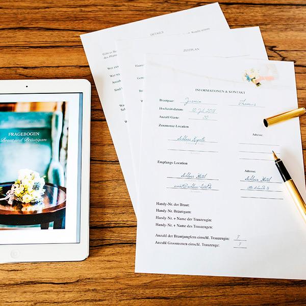 Fragebogen für Hochzeitsreportage