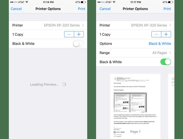 Printer Options - iPhone