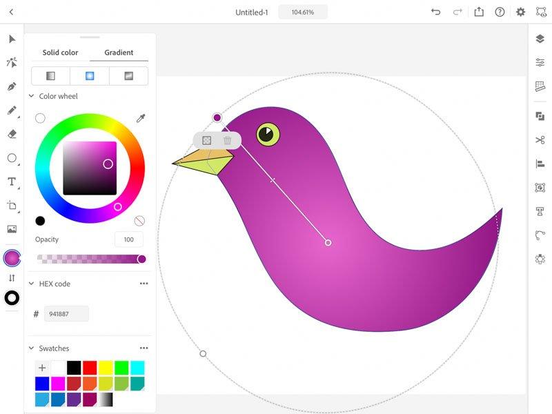 adaugare culoare Adobe Illustrator iPad