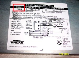 Where To Find The Model Number on Broan Nutone Parts at StoreForParts