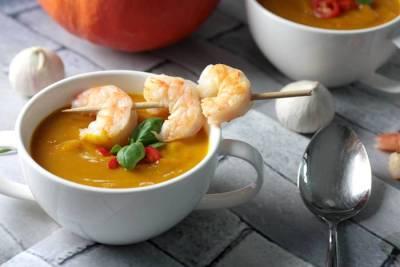 Kürbissuppe mit Garnelen-Low Carb Suppe-Kürbissuppe