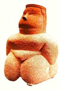Cabras, Provincia di Oristano, necropoli Cuccuru s'Arrius: raffigurazione Dea Madre mediterranea. Cagliari, Museo Archeologico Nazionale. I ritrovamenti di questi idoletti, il cui stile è chiamato volumetrico, sono stati numerosi in tutta l'Isola. Sono stati scolpiti nel marmo o nell'alabastro, fatti in osso o con l'argilla, in posizione seduta o in piedi, ma sempre con il corpo obeso ad indicare la fertilità, l'abbondanza o l'opulenza.