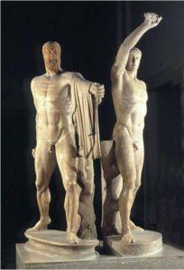 Gruppo scultoreo dei Tirannicidi. Copia romana. Museo Archeologico Nazionale di Napoli