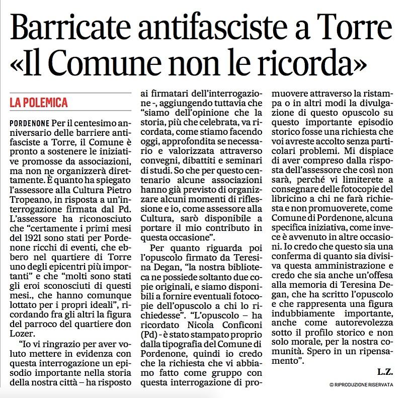 Il Comune di Pordenone ed il centenario delle Barricate di Torre
