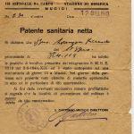Mucici ospedale da campo 1943 Patente sanitaria
