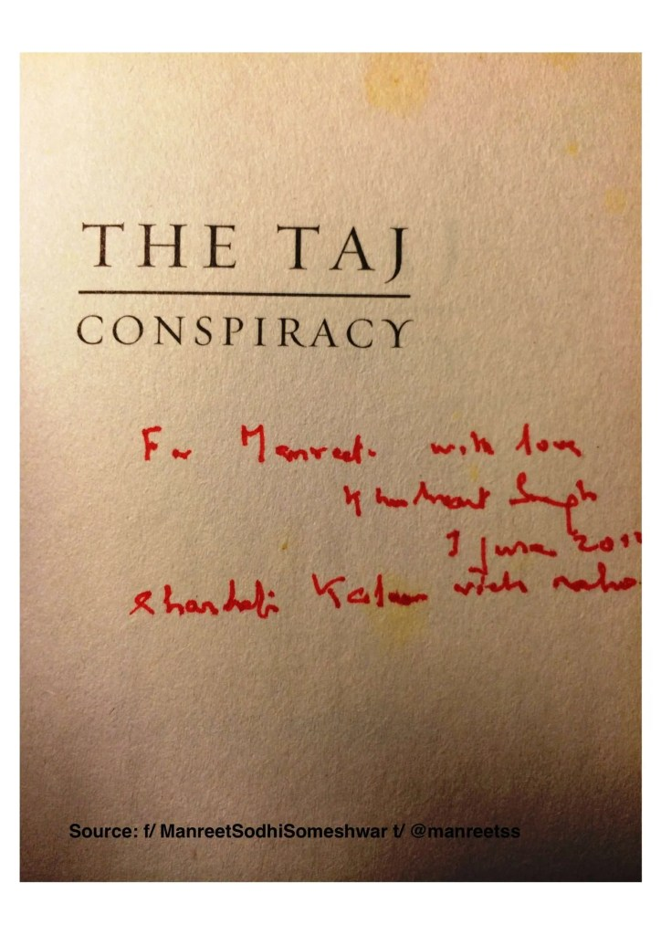 The Taj Conspiracy signed by Khushwant Singh