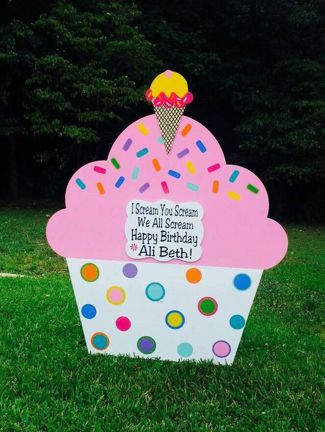 Birthday Yard Sign San Antonio Ice Cream Cake Lawn Sign