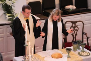 Pastors Matt and Nancy preside at Holy Communion on Easter Sunday