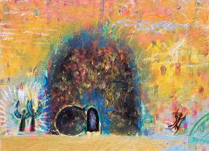"""Detail of """"Empty Tomb"""" (painting) by Anne Cutri"""