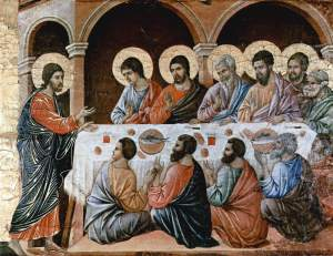 """""""Christ Appears to the Disciples at the Table after the Resurrection"""", Panel from the Maesta Altarpiece of Siena, by Duccio di Buoninsegna, 1308-1311"""