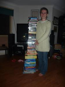 not the most flattering photo of me, but you should be focusing on the stack of books