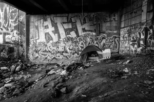 Homeless encampment under a Pittsburgh bridge.