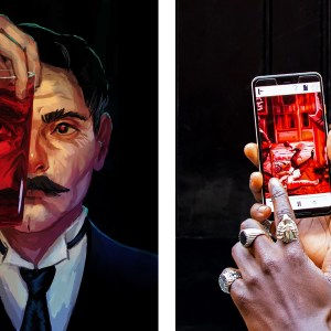 Two images, where the first is an illustration of Dr Jekyll holding a glass of red liquid in front of his face. In the second image, a person who is on a walking tour is holding a smartphone in their hand. On the screen, a puzzle is visible
