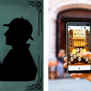 Two images, the first one is an illustration of Sherlock Holmes holding up a blue jewel. In the second image, a person on a walking tour is holding up a smartphone. On the screen, a puzzle is visible