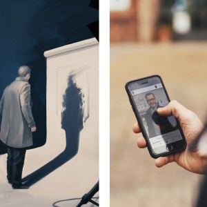 Two images, where the first is an illustration of Kurt Wallander standing in front of a photo screen, with his back turned towards us. In the second image, a person is on a walking tour, holding a smartphone in his hand. On the screen, a puzzle is visible