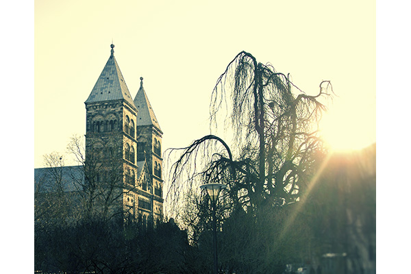 The Lund Cathedral at sunset
