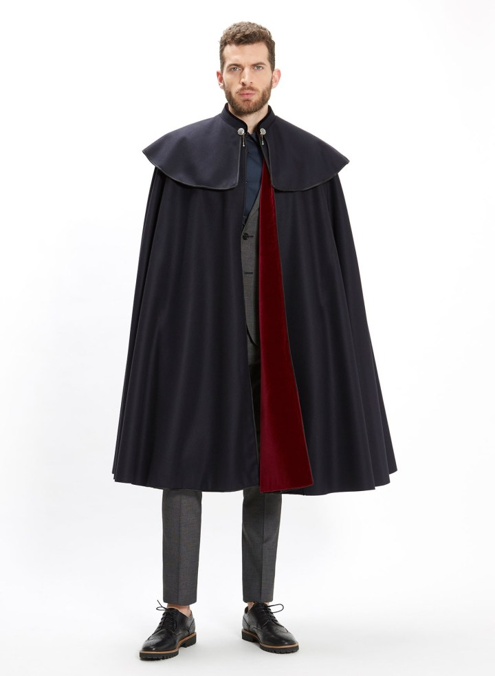 Seseña's 1901 Classic cape with pomegranate velvet lining.