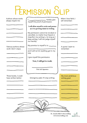 Storywelling's Writing Permission slip