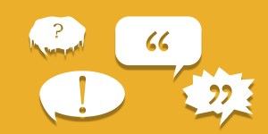 Yellow speech bubbles, dialogue tags