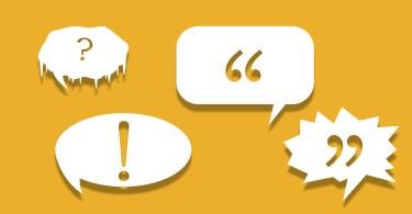 Yellow speech bubbles, dialogue tags