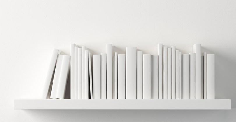 White books on white bookshelf