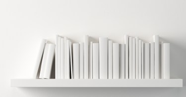 White books on white bookshelf