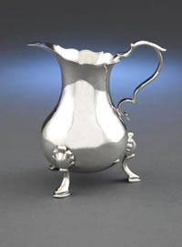 Silver Cream Jug by Tobias Stoutenburgh (Side View)