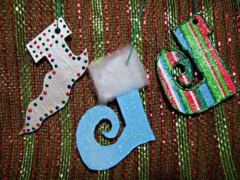 Elf Stocking Ornaments-made from cardboard-StowandTellU